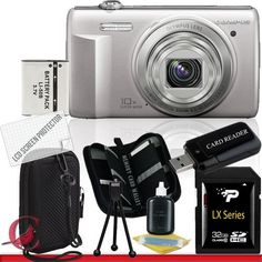Olympus VR-340 Digital Camera (Silver) 32GB Package 3 by Olympus. $132.60. Package Contents:  1- Olympus VR-340 Digital Camera (Silver) w/ All Supplied Accessories 1- 32GB SDHC Class 10 Memory Card   1- USB Memory Card Reader  1- Rechargeable Lithium Ion Replacement Battery  1- Weather Resistant Carrying Case w/Strap  1- Pack of LCD Screen Protectors  1- Camera & Lens Cleaning Kit System  1- Mini Flexible Table Top Tripod 1- Memory Card Wallet