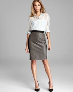 Sleek and sexy - still works for 9 - 5. DKNY Blouse & Skirt | Bloomingdale's
