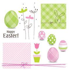 Easter design elements vector on VectorStock®