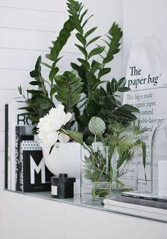 green foliage grey white arrangement plants flowers