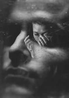 black & white photography   worry   confusion   in his eyes   concern   depression   sadness   double exposure by gina