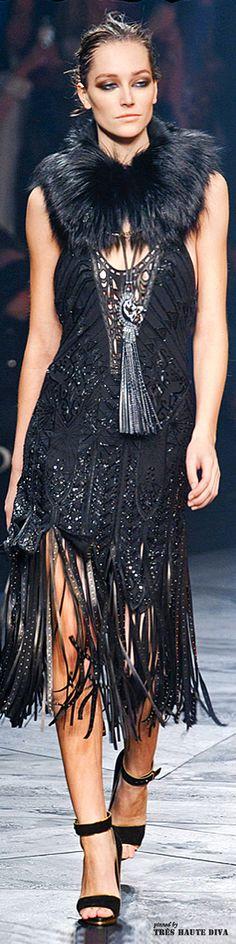 #Milan Fashion Week Roberto Cavalli Fall/Winter 2014 RTW Fur, Feather, Fringe, Statement Necklace, Cavalli does it all...........