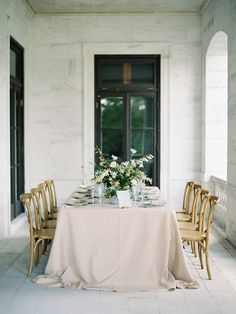 Organic and intimate wedding reception table decor and styling // Virginia fine art film photographer