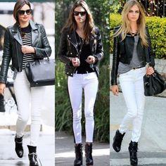 Leather jacket white pants