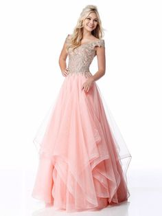 Sherri Hill - 51614 Lace Appliqued Corset Tiered A Line Dress Princess Prom Dresses, Pink Prom Dresses, Grad Dresses, Dressy Dresses, Event Dresses, Pageant Dresses, Modest Dresses, Club Dresses, Party Dresses