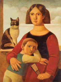 "Reynaldo Fonseca (Brazilian, b. 1925) - ""Figuras com gato"" (Figures with cat), 2008 - Oil on canvas"