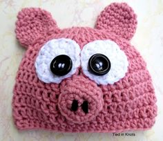 Little Piggy Crochet Pig Hat with curly tail for newborns, babies, children and adults handmade with high quality premium acrylic yarn on Etsy or at www.facebook.com/TiedinKnotsCrochet.TIK