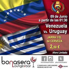 VENEZUELA VS URUGUAY. Tras la victoria de nuestra vinotinto en su debut y la derrota de la seleccion charrua pone un pie de la vinotinto en la siguiente ronda de la copa y nosotros te transmitimos este partido con el mejor ambiente . . .en la madrugada de jueves para viernes a la 01:30 vs. #lavinotinto  #venezolanosenmadrid  #futbol  #copaamerica2016 #venezuela