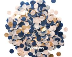 Blush Navy Rose Gold Confetti - Tissue Paper - Pink Ivory Navy Blue - Circle One Inch Handmade Hand Cut - Choose oz or 1 oz Spring Gold Confetti Balloons, Paper Confetti, Blue Candy Table, Gold Birthday Party, 30th Birthday, Birthday Parties, Blue Party Decorations, Wedding Decorations, Wedding Ideas