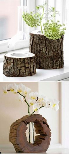 Handmade vases made from tree stumps!!! Bebe'!!! Great craft idea!!! Natural…