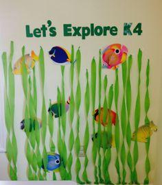 Under the sea ocean fish themed preschool classroom decorations bulletin board ideas.