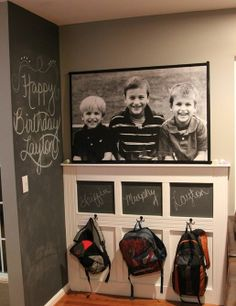little area for the kids backpacka... love the chalkboard area to write special notes or reminders for the day or week
