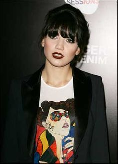 Daisy Lowe, dark lips + raven hair