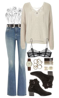 """""""Untitled #126"""" by lydiaa021 ❤ liked on Polyvore featuring Levi's, B-Low the Belt, River Island, Maison Close, Yves Saint Laurent, Simon Carter, Burt's Bees and Emi-Jay"""