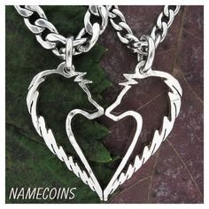 Howling Wolf necklace, His and hers matching Couples jewelry, hand cut... ❤ liked on Polyvore