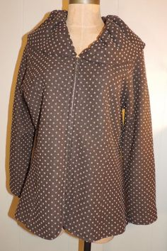 Wm's L Stylish Brown Boiled Wool w/ Tan Polka Dots Zip Front Long Sleeve Jacket #Vintage #FashionJacket #Casual