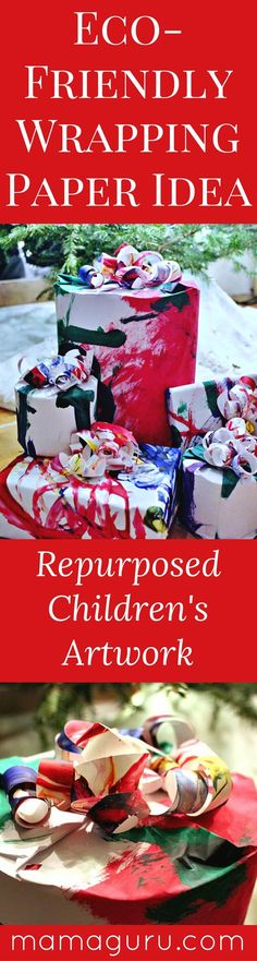 Wrapping Paper Idea ♥ Recycling Craft ♥ Homemade Wrapping Paper ♥ Christmas ♥ Green Living Tips