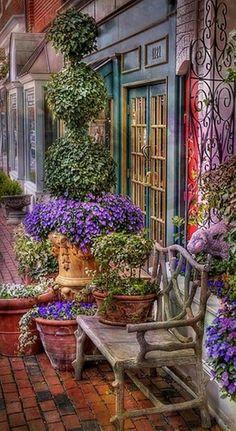 Beautiful King Street floral display in Alexandria, Virginia - Container Gardening Beautiful Gardens, Beautiful Flowers, Beautiful Places, Beautiful Pictures, Building A Pond, Pond Waterfall, Parcs, Plantation, Secret Gardens