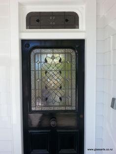 Stained glass window for Villa door, Mt Eden - GlassArts Glass Front Door, Front Doors, Glass Bathroom, Glass Wall Art, Modern Sculpture, Entrance Doors, Stained Glass Windows, Black Glass, Glass Jewelry