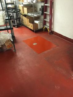 A clean out was added and we made a patch with the same urethane material, this is another bakery we completed 9 years ago look how the floor has lasted.
