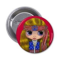 Stars and Stripes Hippie 4th of July Button © Blonde Blythe