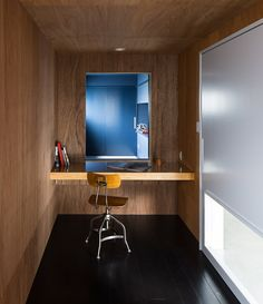 Modern Home Office // minimal approach to a well designd office space with a view at the Scape House by FORM/Kouichi Kimura Architects. The warm wood walls and ceiling provide a nice contrast as they meet the modern black flooring. Contemporary Architecture, Interior Architecture, Home Office Design, House Design, Black Wood Floors, Wood Walls, Shiga, Architect House, Modern Interior Design