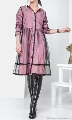 Купить Оригинальное платье из сетки на поплине - розовый, красивое платье, дизайнерское платье, молодежный стиль