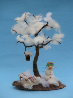 I create this tree that can change all four seasons during the year as a real tree. This decoration is perfect for your nature table or it can be