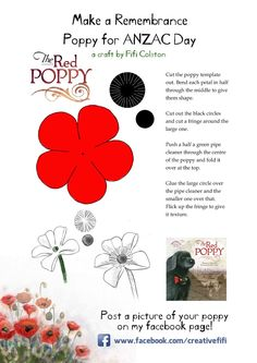 I've updated my poppy template from last year in time for ANZAC Day. Here it is, feel free to use it and make a field full of popp. Poppy Template, Flower Template, Felt Flowers, Fabric Flowers, Paper Flowers, Anzac Poppy, Poppy Images, Remembrance Day Poppy, Poppy Craft