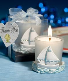 Nautical Themed Sailboat Candles Favor