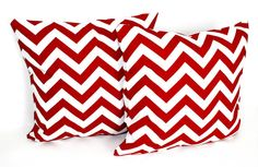 2 DECORATIVE PILLOW Covers - THROW Pillows - 18 x 18 inches - Red Chevron  Ask a Question $26.1