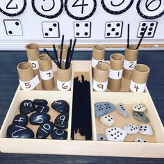 I would use this tray in an individual math center or when working with a student one on one to develop number sense skills. Numbers Kindergarten, Math Numbers, Preschool Classroom, Kindergarten Activities, Reggio Emilia Preschool, Maths Eyfs, Reggio Classroom, Early Years Maths, Early Math