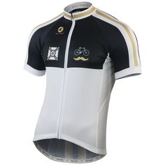 """Gregory Klein designed this classic Cycling Jersey for men. It's called """"White Wheelman"""" and available for $95."""