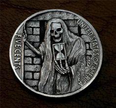 """Hobo Nickel """"Time Is Fleeting"""" Skeleton Reaper Coin Howard Thomas"""