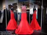 Red Halter Open Back Mermaid Prom Dress - Rsvp RA - Long Gown - Rsvp Prom and Pageant Atlanta, Georgia GA - 1