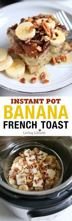 Easy One Pot Meal - Instant Pot Banana French Toast Recipe! How to make french toast in an Instant Pot! This easy Cream Cheese Banana French Toast Recipe is a fast way to make breakfast in a pressure (Paleo Recipes Instant Pot) Banana French Toast, Make French Toast, French Toast Recipes, Recipes With White Bread, Instant Pot Pressure Cooker, Pressure Cooker Recipes, Pressure Cooking, Instant Cooker, Healthy Recipes