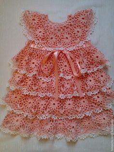 Купить Платье для девочки крючком Дюймовочка - бледно-розовый, платье летнее, платье крючком