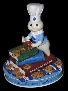 "Pillsbury Doughboy.  Books include ""Catcher in the Rye Bread,"" ""On Golden Pound Cake,"" and ""The Dough Also Rises."""