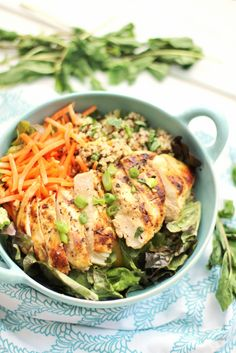 Grilled Lemon Chicken Quinoa Bowls | This protein bowl makes for a satisfying weeknight dinner.