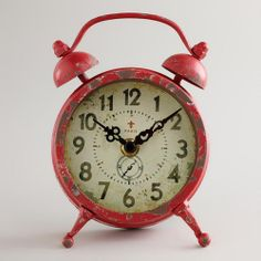 "Red Vintage-Style Magnet Clock at WorldMarket.com: $14.99 Coolest magnet EVER (and still tells time) 4.5"" x 6.3"""