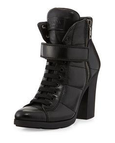 9156ca7f70e6 Prada Linea Rossa Chunky Lace-Up Leather Bootie