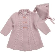 Diy Crafts - paz rodriguez baby girls pink pram coat and bonnet childrensalon - PIPicStats Baby Girl Vest, Baby Girl Jackets, Baby Girls, Baby Baby, Crochet Dress Girl, Crochet Baby Jacket, Shrug Knitting Pattern, Baby Knitting Patterns, Jumper Patterns