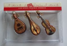 Cost Plus World Market Glass Musical Instrument Ornaments NIP Made In China Wow