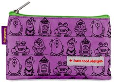 "PURPLE ""I Have Allergies"" Small Pouch/Snack Bag.  Great for snacks or carrying Auvi-Q!"
