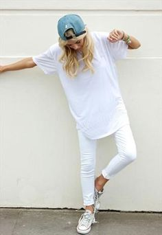 All white casual look with a denim baseball hat.... I like it | Download the app for the fashionista on the go at http://app.stylekick.com
