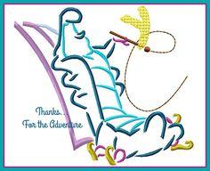Alice in Wonderland Caterpillar Sketch Digital Embroidery Machine Design File 4x4 5x7 6x10 by Thanks4TheAdventure on Etsy