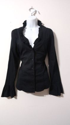 INC International Concepts Black Neckline Button Up Career Blouse Top 12 Large L #INCInternationalConcepts #ButtonDownShirt #Career