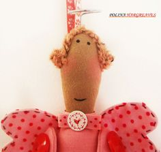 Kind Pink Angel, Stuffed Doll, Angel with Heart, Decorative Hanging Angel, Valentines Day Angel, Christmas Angel