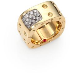 Roberto Coin Pois Moi Diamond & 18K Yellow Gold Two-Row Square Ring ($3,670) ❤ liked on Polyvore featuring jewelry, rings, apparel & accessories, imitation diamond rings, diamond jewelry, fake gold rings, diamond rings and square ring