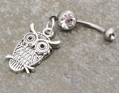 Owl Belly Button Ring Silver Navel Ring Jewelry by MidnightsMojo, $14.00